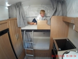 James on his baggsed bunk