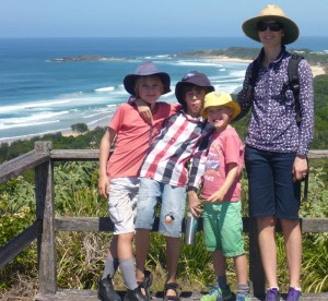 Erika and the boys at Boambee Headland