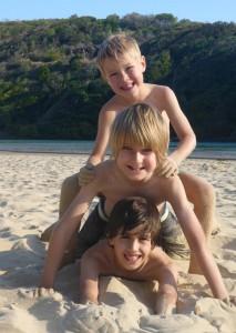 Kids at Boambee Beach